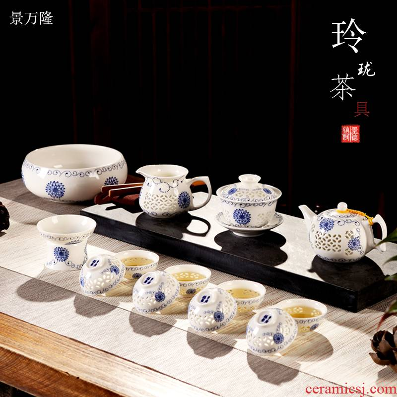 Jingdezhen ceramic porcelain tea set suit hollow - out kung fu home office tureen cups of a complete set of the teapot