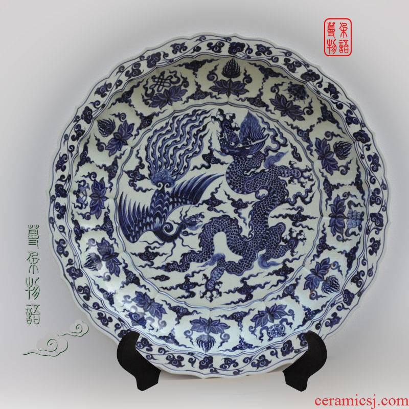 Jingdezhen longfeng manual brushwork lines 70 cm diameter grail hand - made porcelain 70 cm diameter grail furnishing articles