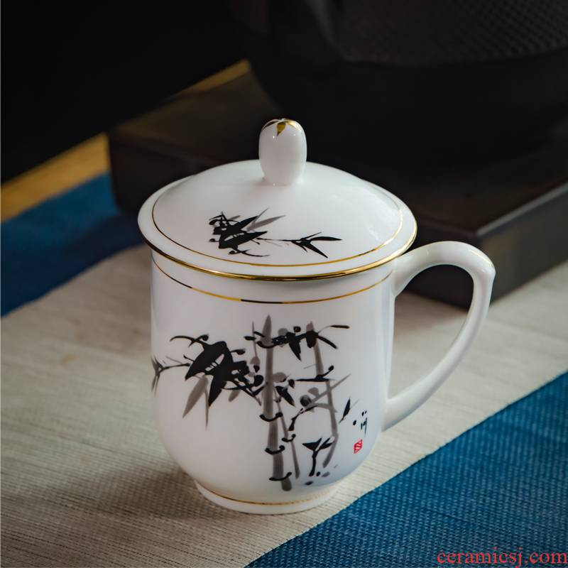 Jingdezhen ceramic cups with cover glass office meeting ipads porcelain cup MoZhu gift custom LOGO