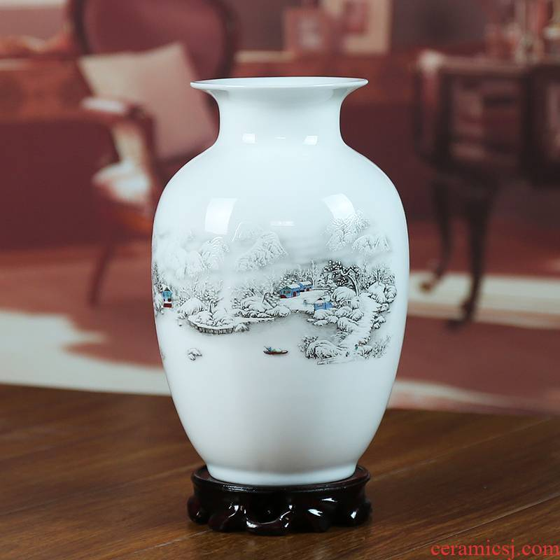 Jingdezhen ceramics powder enamel luminous vase snow home decoration modern living room decoration process study furnishing articles