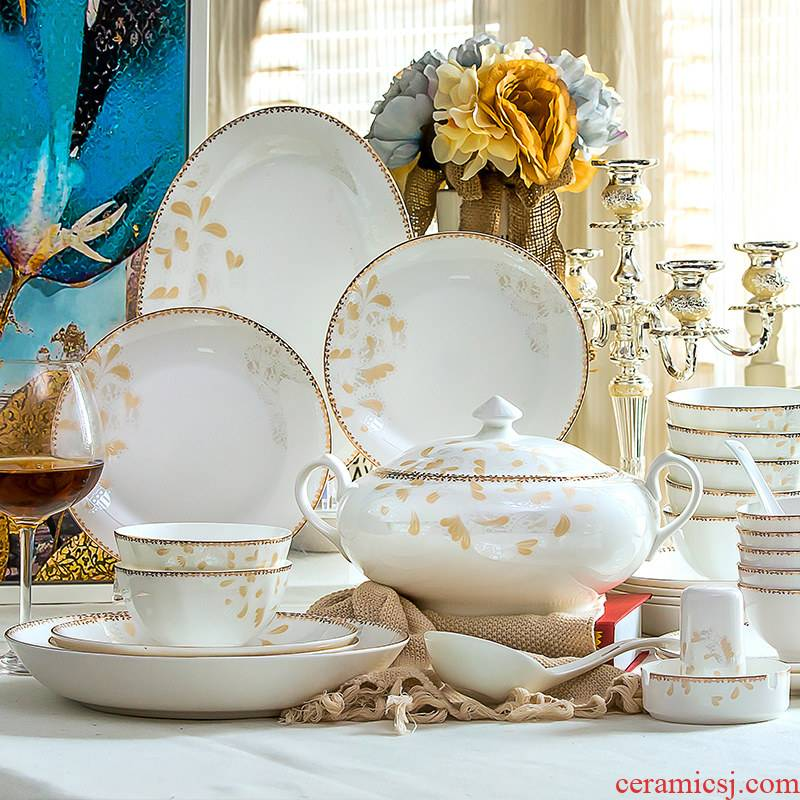 Ou ipads porcelain tableware suit of jingdezhen ceramic dishes household of Chinese style dishes suit Nordic contracted combination