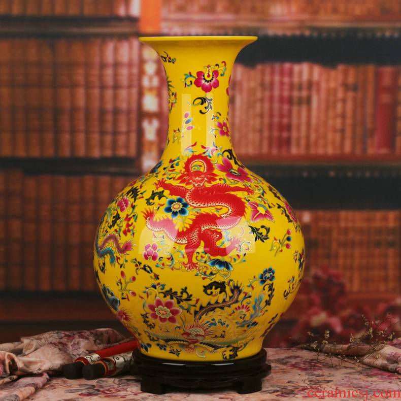 Jingdezhen ceramics glaze in extremely good fortune landing big yellow crystal vase furnishing articles of Chinese style household ornaments