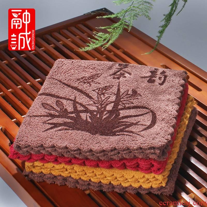 Melts if bibulous thickening kung fu tea tea tea tea towel fiber cloth accessories tea tea towel cloth cotton and linen cloth