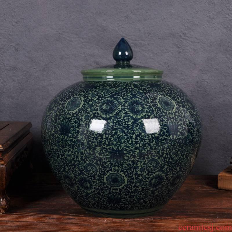 Ceramic household barrel ricer box tank flour kitchen tank cylinder storage tank seal cylinder moistureproof tea cake