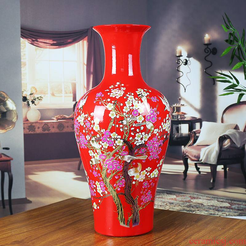 Jingdezhen ceramics China red vase modern home sitting room adornment company of large hotel furnishing articles