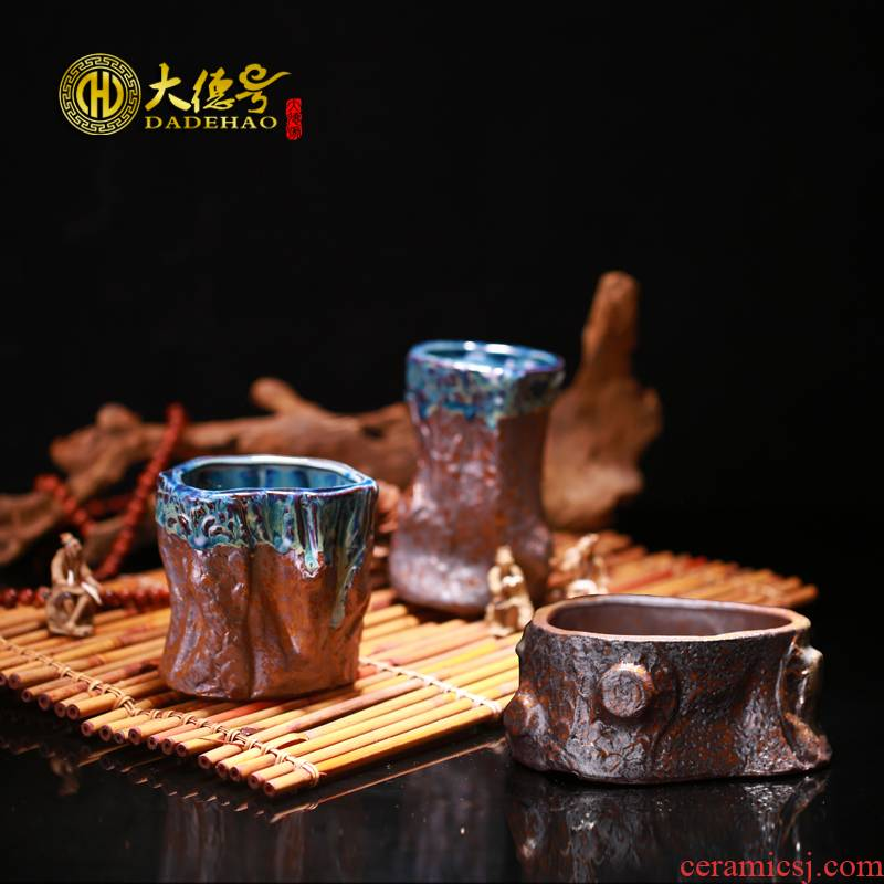 Greatness, yixing purple sand meaty plant pot retro stump basin creative small European - style coarse glazed earthenware pottery and porcelain