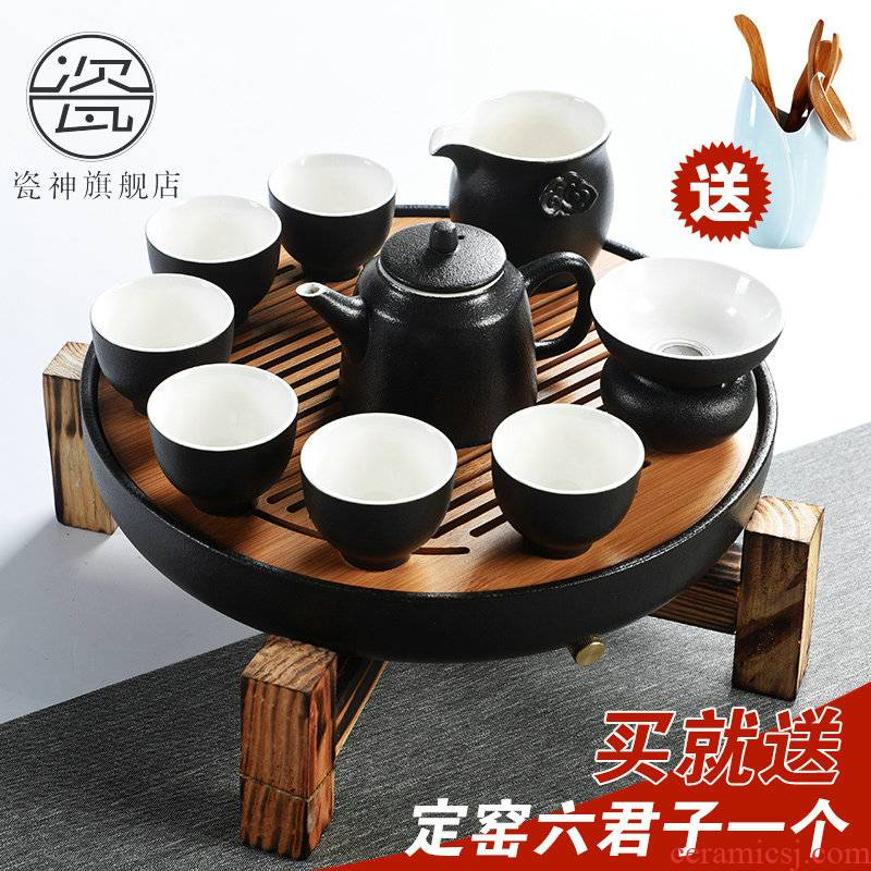 Japanese porcelain god contracted household kung fu tea set ceramic cups of black solid wood storage type tea table ground suit