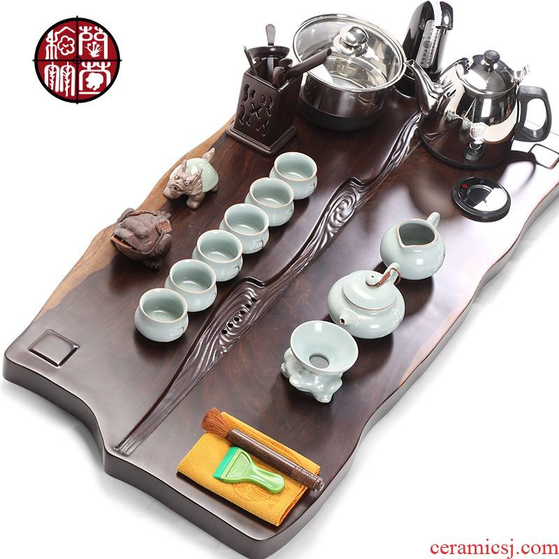 Ebony tea tray was four unity induction cooker kung fu tea set ceramic home office of a complete set of tea
