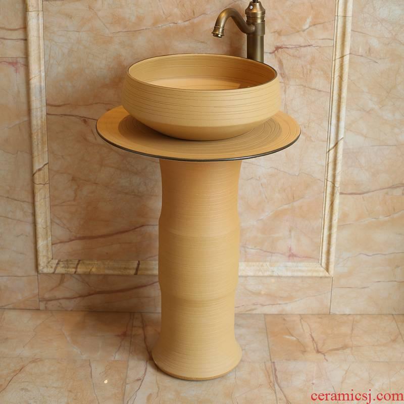 Spring rain sanitary ceramics column basin bathroom balcony lavatory European contracted household sink console