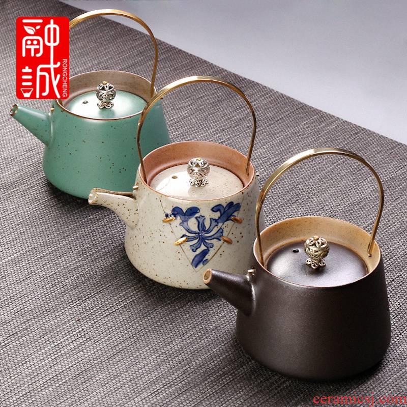 Archaize ceramic teapot girder pot tea ware domestic copper restoring ancient ways is the single pot of tea kettle Japanese kung fu tea set