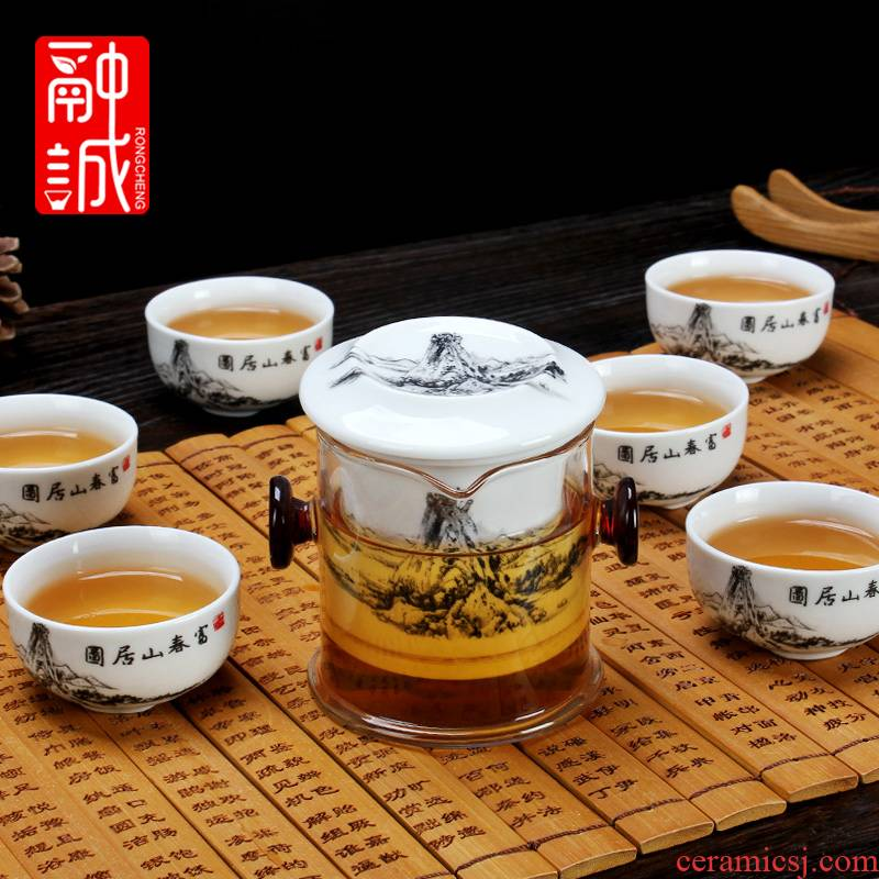 Melts if black tea tea sets a complete set of kung fu tea set glass teapot ceramic filter ears tea
