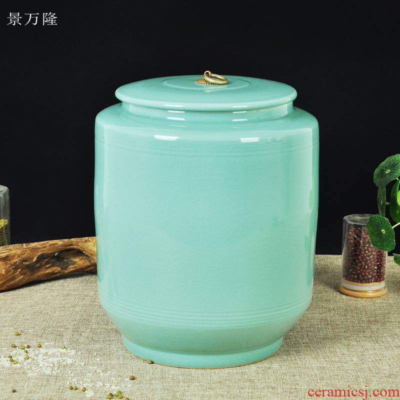Ceramic barrel ricer box with cover cylinder storage tank water tea cake home seal pickles cylinder expressions using jars