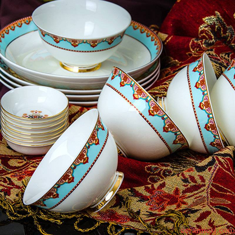 Jingdezhen European household ipads porcelain tableware suit 68 contracted ceramics dishes suit to use chopsticks dishes dishes
