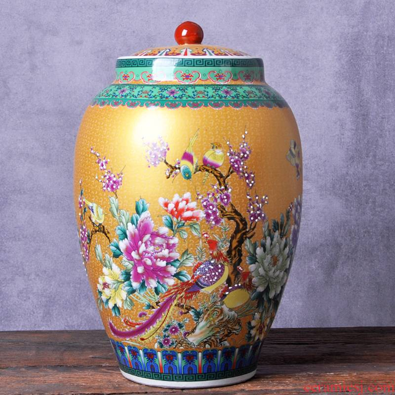 Jingdezhen ceramic barrel ricer box 20 jins 30 jins with household moistureproof with cover cylinder cylinder tank cylinder rice storage tank