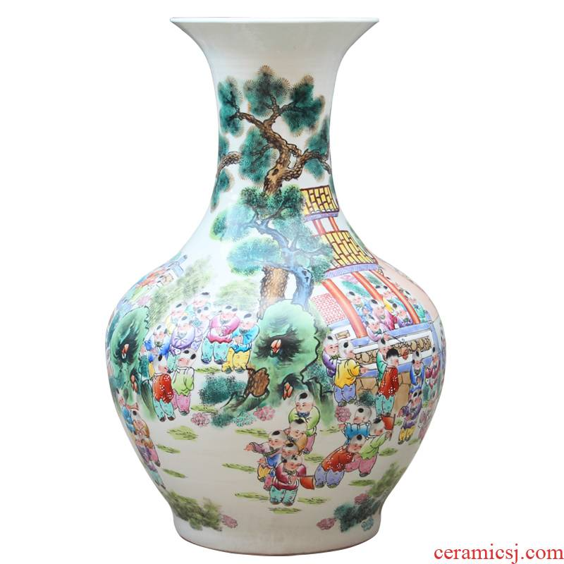 Jingdezhen ceramics hand - made pastel the ancient philosophers figure of large vases, classical Chinese style living room home decoration