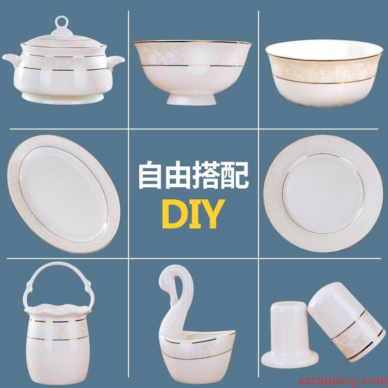 Porcelain fu ji jingdezhen ceramic bowl dish dish Europe type style ipads bowls suit home dishes suit free combination