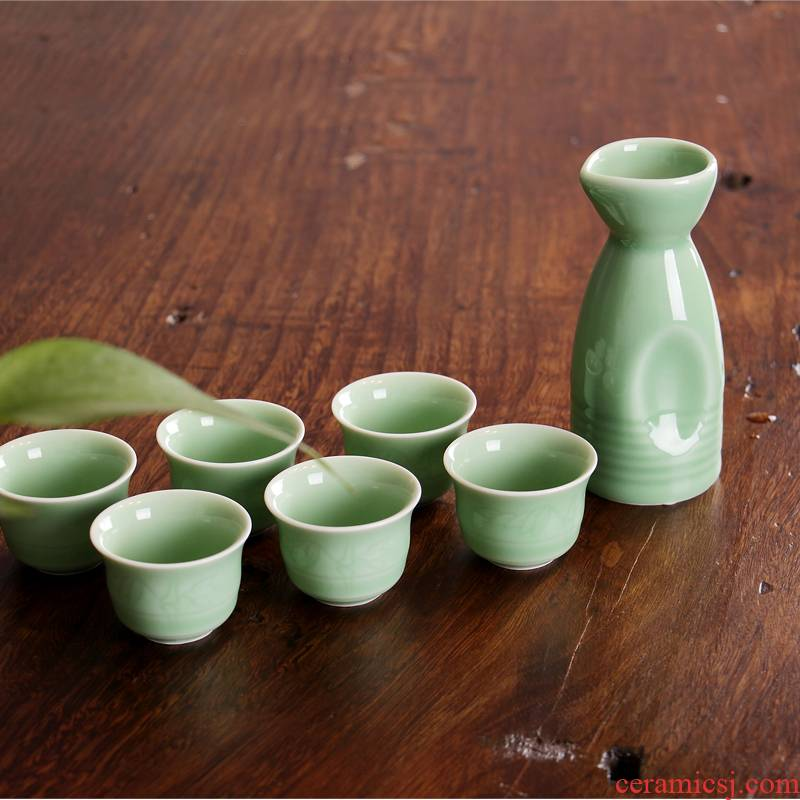 Sapphire hin seven hot hip hip flask kung fu suit points celadon decanters bamboo tea wine a small handleless wine cup tea cups