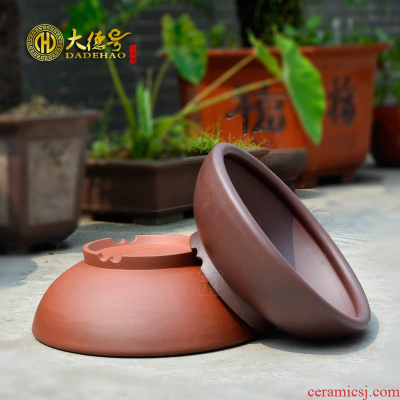 Greatness, yixing purple sand flowerpot high - quality goods straight expressions using basin of great circle tank undressed ore purple clay cement