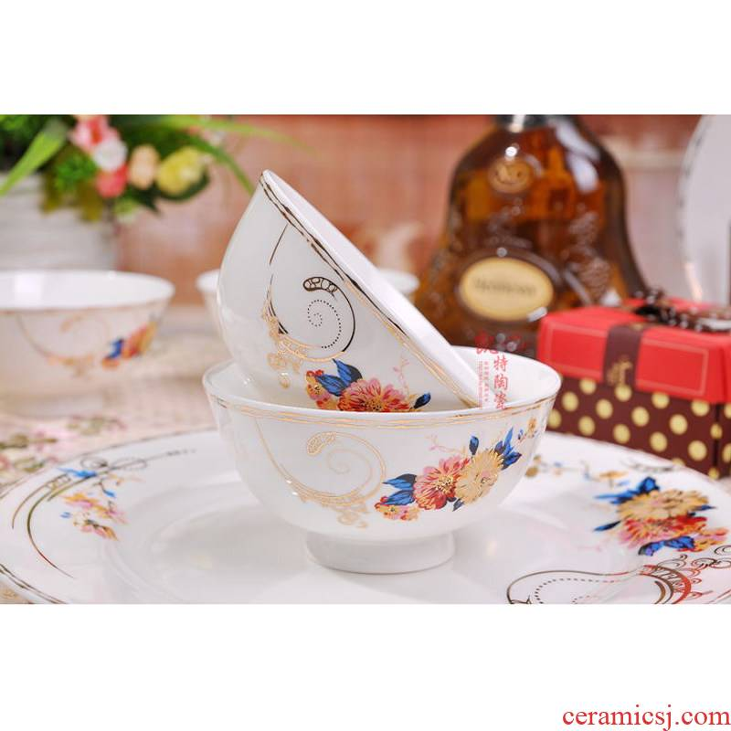 Contracted European dishes suit jingdezhen ceramic tableware suit Chinese style household ceramic bowl bowl plate combination