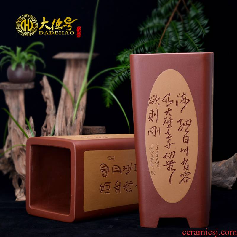 Greatness, yixing purple sand flowerpot high - quality goods high basin manual bonsai pot orchid sifang extinguishers