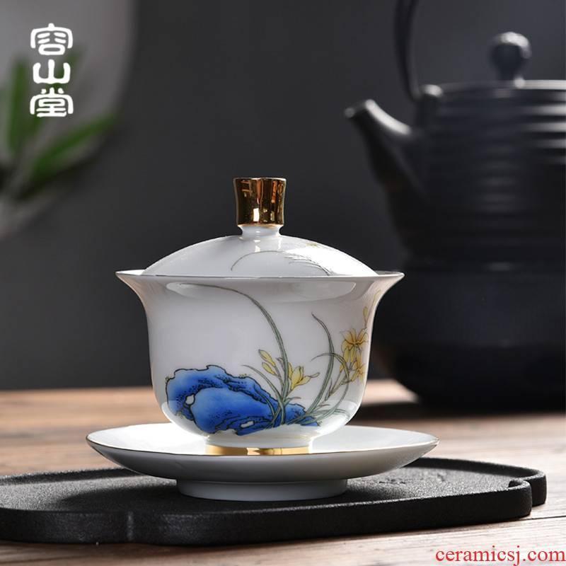 RongShan hall gode tasted silver gilding suet jade porcelain tureen ceramic blue large three bowl kung fu tea set