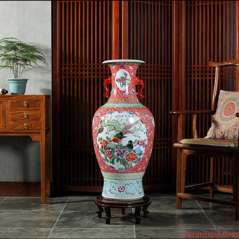 Jingdezhen ceramics antique hand - made ears of large vase gift collection living room TV cabinet decorative furnishing articles
