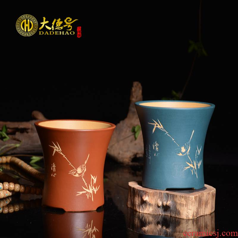 Greatness, yixing purple sand flowerpot straight opening round POTS much meat flowerpot exquisite bonsai POTS made carved by hand