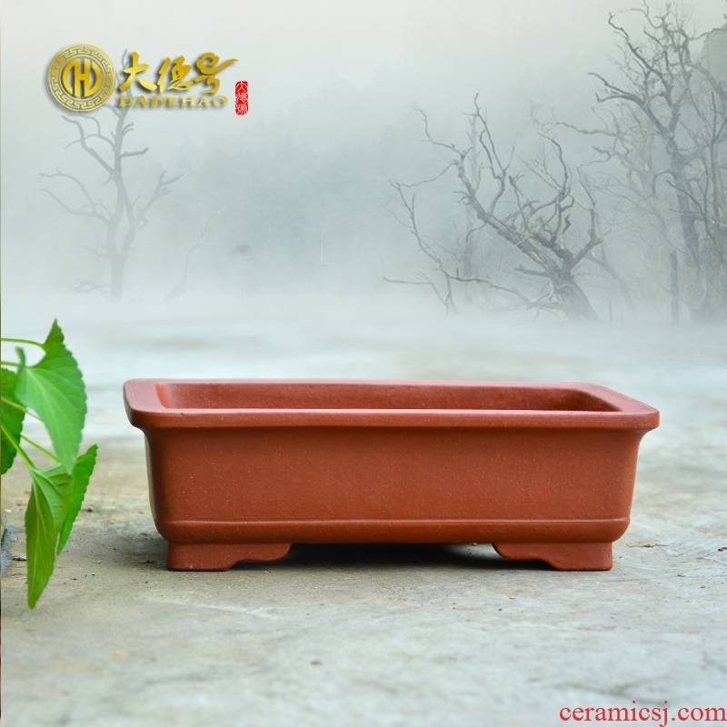 Yixing purple sand flowerpot high - quality goods, the teacher, a bonsai pot oblong flowers green plant creative home