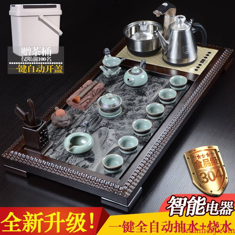 China Qian violet arenaceous elder brother up of a complete set of kung fu tea set ebony spend pear wood tea tray was sharply stone tea tea