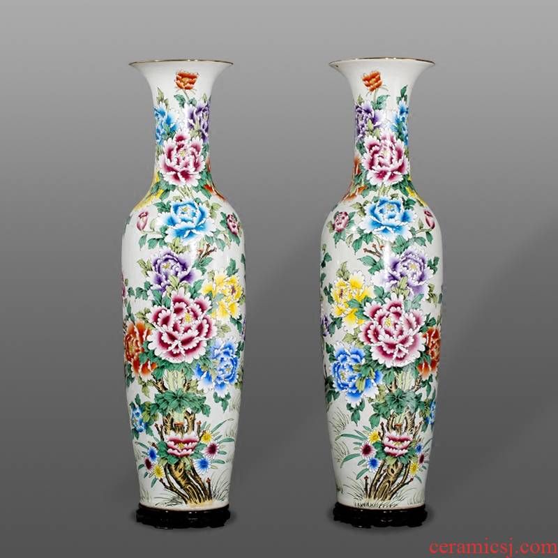 Jingdezhen ceramics manual hand - made enamel paint large vases, sitting room adornment is placed