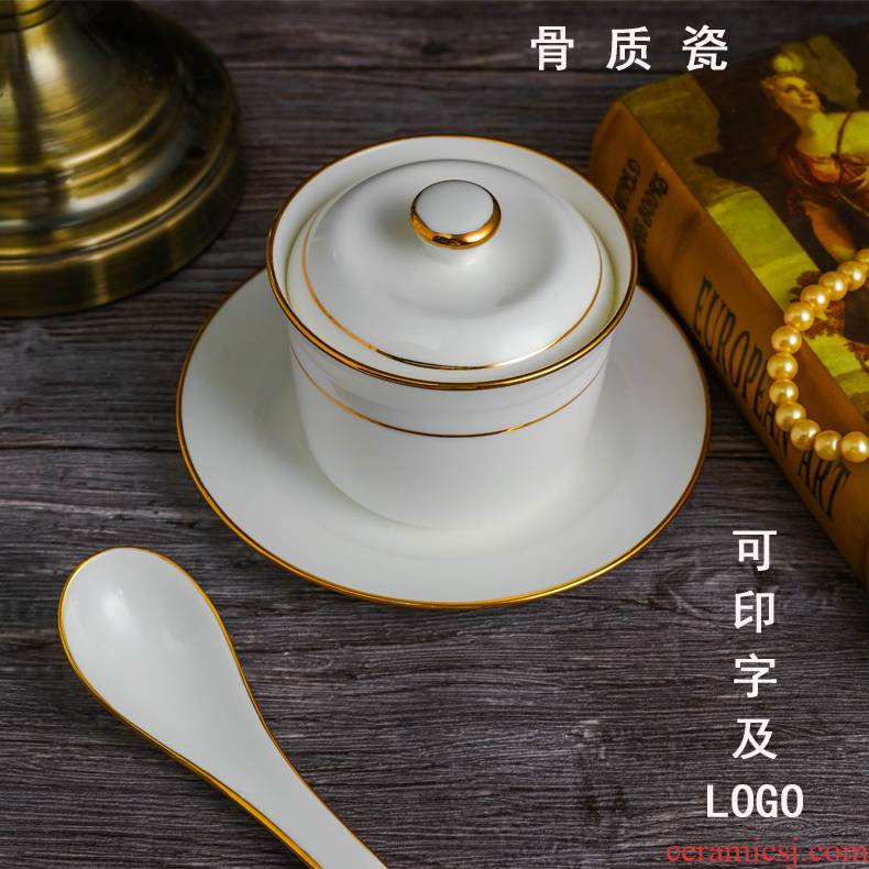 Jingdezhen ceramic cup with cover soup cup stew stew pot of water to offer them a small bowl of stew ipads porcelain up phnom penh bird 's nest custom LOGO