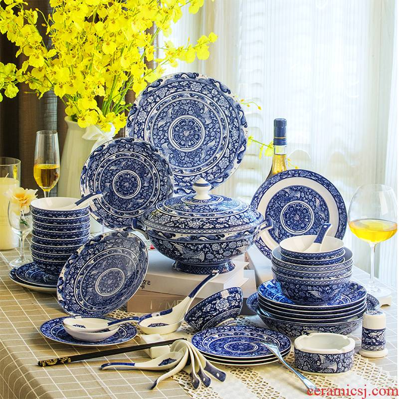 Yuan blue and white porcelain tableware antique dishes suit red xin jingdezhen blue and white com.lowagie.text.paragraph 70 phoenix ceramic tableware