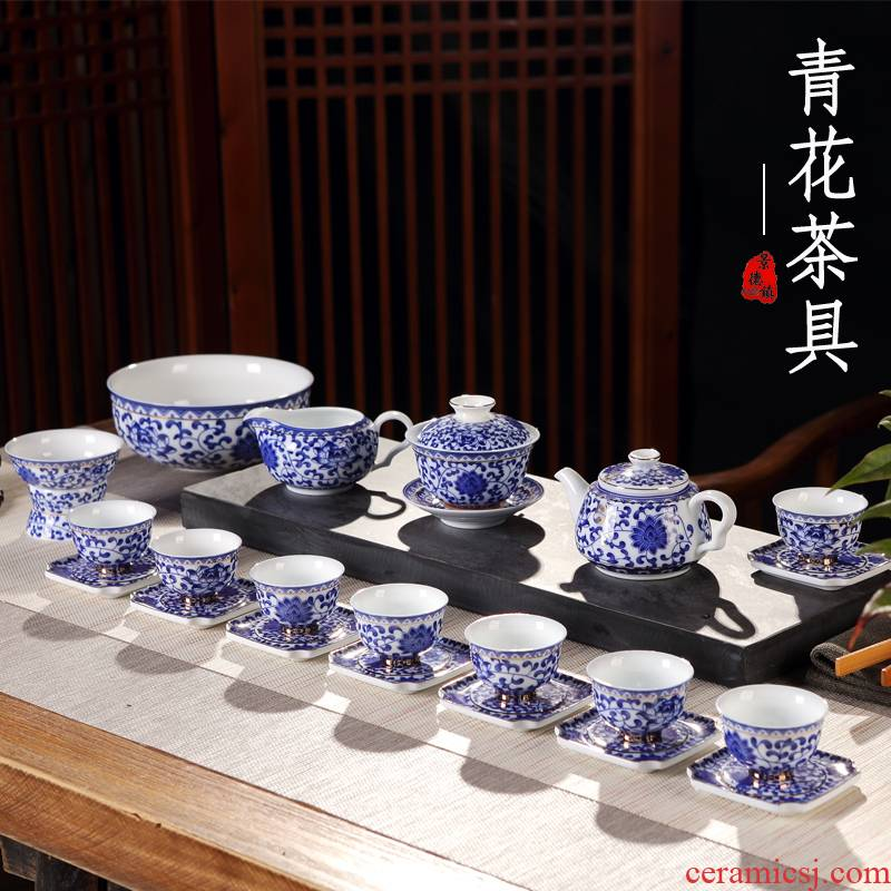 Ceramic home office cup tea cup archaize kongfu tea tureen of blue and white porcelain teapot teacup suit restoring ancient ways