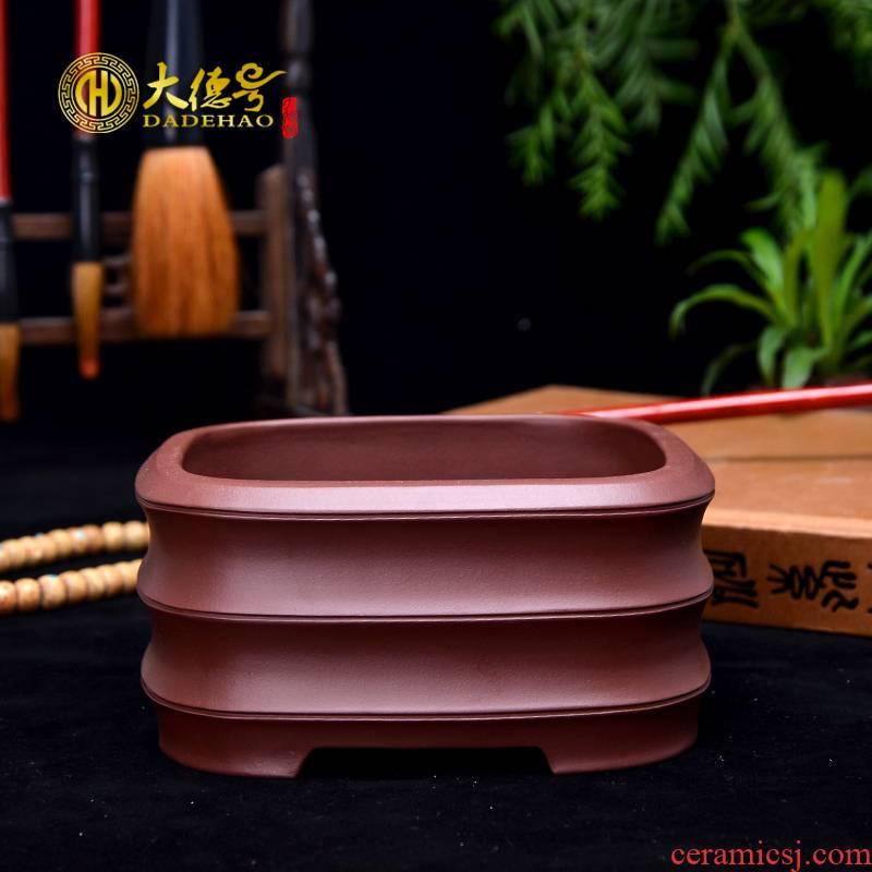Greatness, yixing purple sand flowerpot square bamboo bonsai pot asparagus fleshy flowerpot flower pot in the office