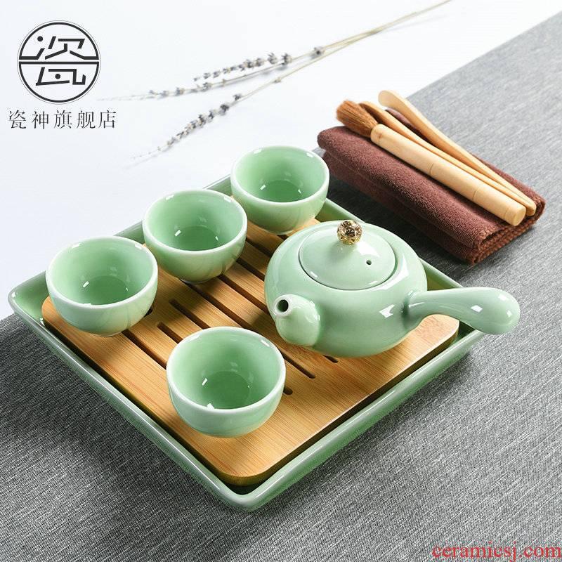 Contracted celadon porcelain god kung fu tea sets of household ceramic teapot teacup side small dry tea tea tray
