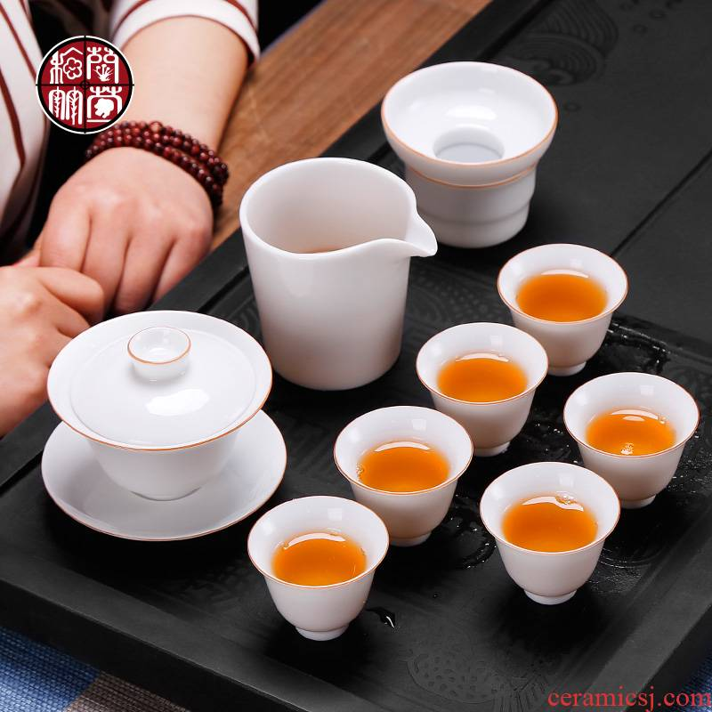 Dehua white porcelain sweet white glaze tea set home sitting room from the one pot of six cups of a complete set of gift box office