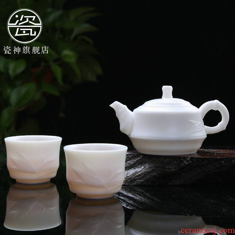 Suet white marble white porcelain porcelain god a kung fu tea set unglazed pot two dehua ceramic teapot teacup