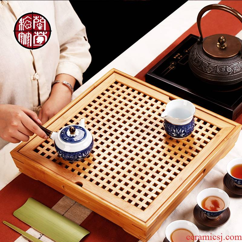 Kung fu tea tea tray was mini small water contracted simple embedded bamboo small bamboo tray was dry terms