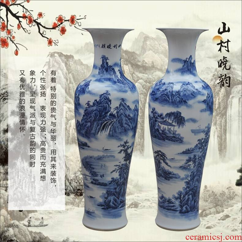 Blue and white porcelain hand - made ceramics engraving landing large sitting room place vase office hall hotel arts and crafts