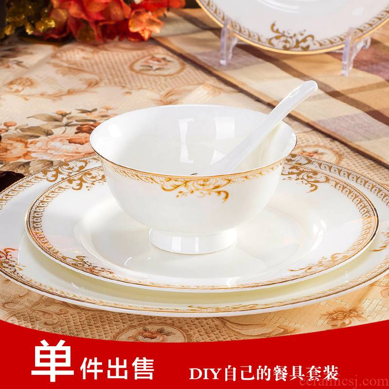 Ipads China tableware ceramic bowl dish dish fish dish creative household portfolio to use plate tableware to prevent hot practical use customization