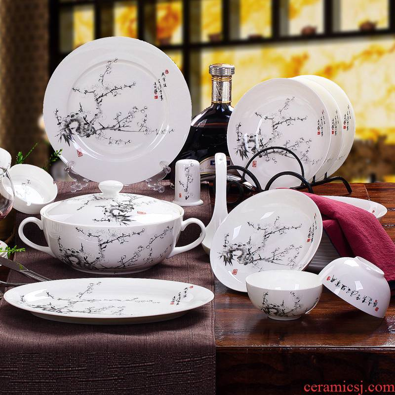 Red xin master design 56 skull porcelain tableware suit dish dish jingdezhen ceramic tableware bowl dish