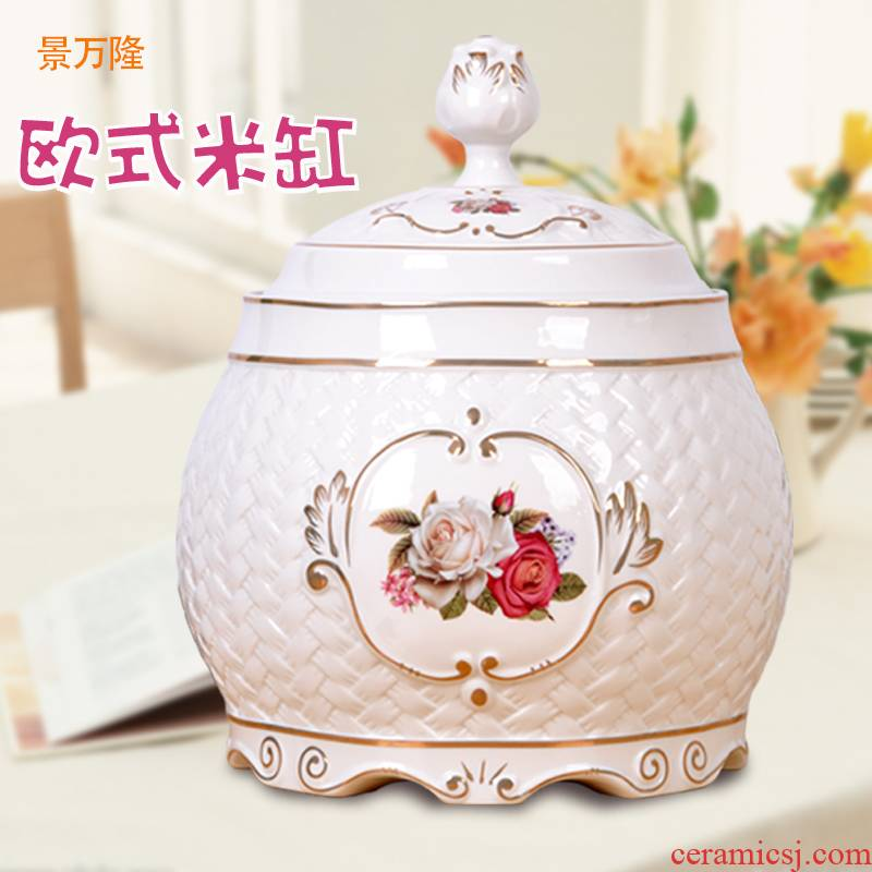 European ceramic seal moisture storage barrel/box with cover multigrain receive more decorative furnishing articles of jingdezhen