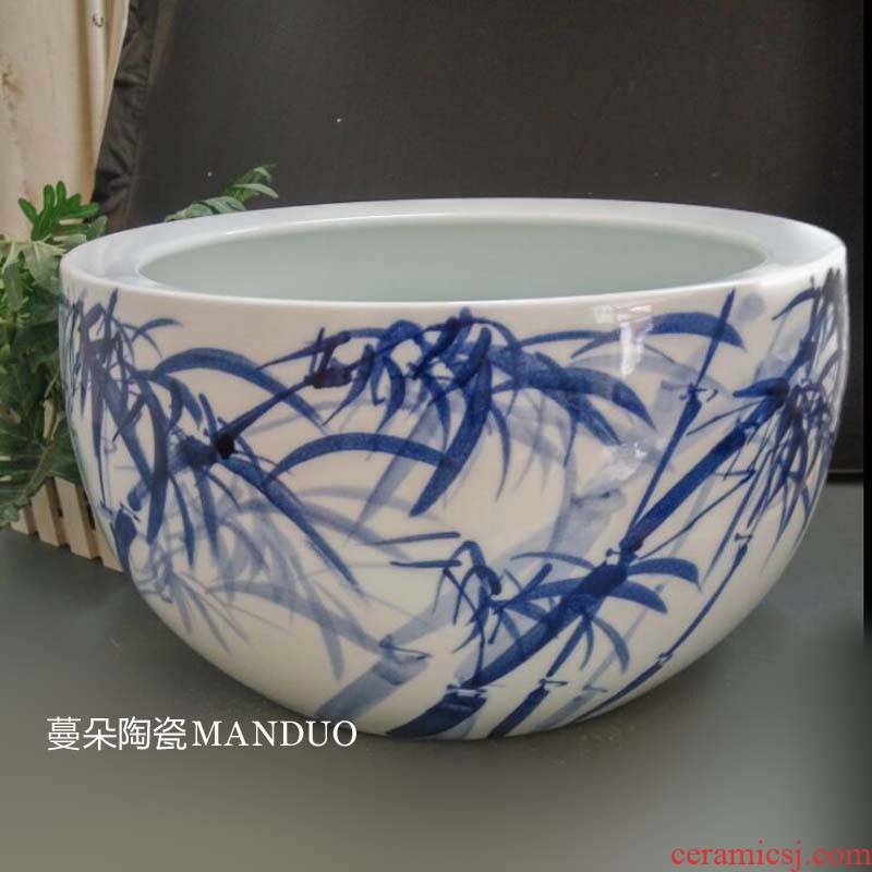 Jingdezhen blue and white porcelain writing brush washer from bamboo bamboo picture hand - made porcelain cylinder aquarium porcelain