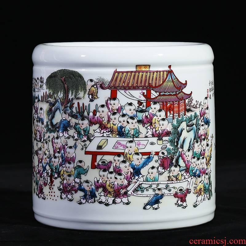 Jingdezhen ceramic famille rose porcelain vase the ancient philosophers figure best deer figure study of I household brush pot office furnishing articles
