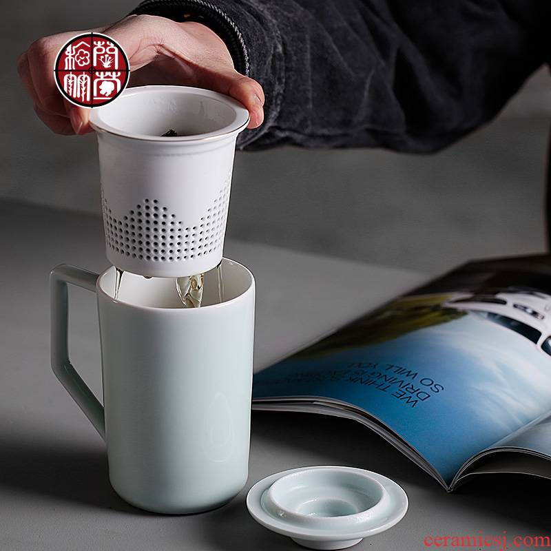 Custom ceramic cup with cover cup with cover the tank filter tea cups of tea separate office large cups