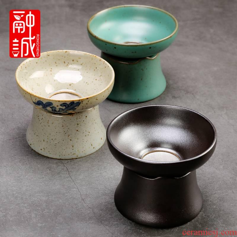 Coarse pottery) tea about ceramic tea strainer creative tea service parts stainless steel mesh tea tea strainer