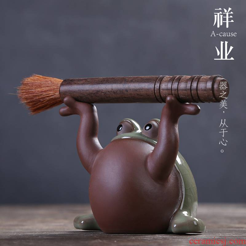 Auspicious industry elder brother up slicing can raise tea pet frog coarse pottery its handicraft furnishing articles stone tea tea accessories