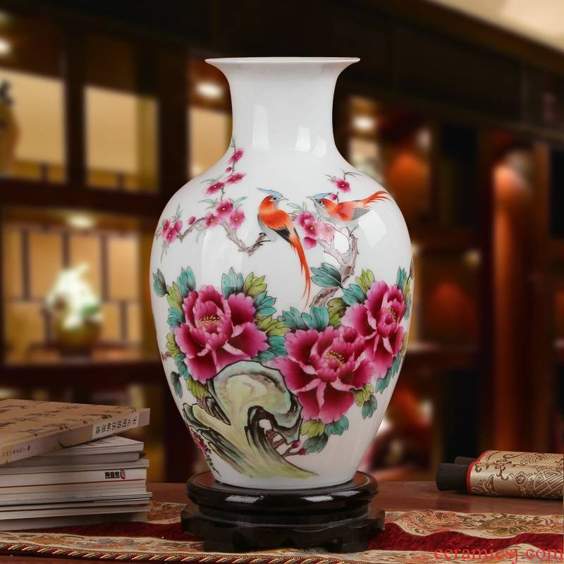 Famous Xia Guoan high - grade gift porcelain vase hand - made works of jingdezhen ceramics powder enamel peony flower bottle
