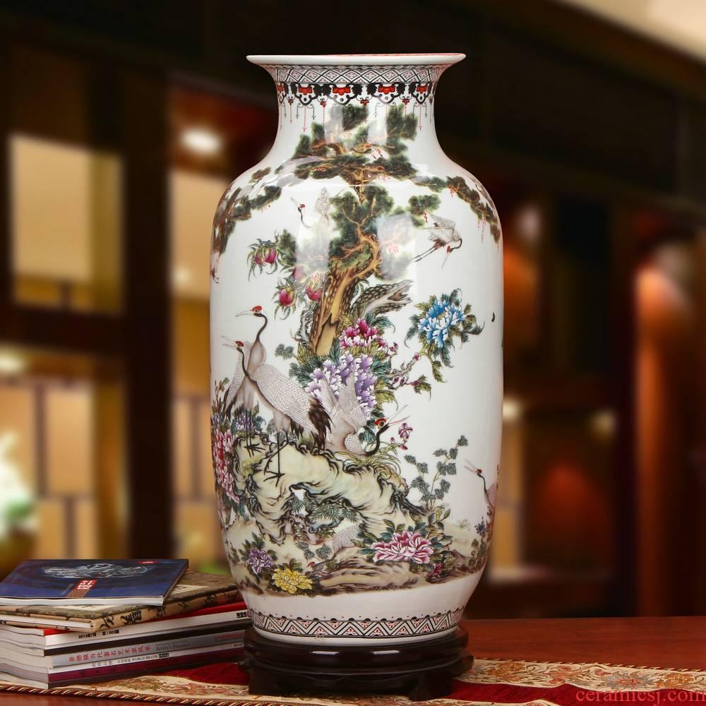 Jingdezhen ceramics powder enamel pine crane live idea gourd of large vases, modern Chinese style household crafts