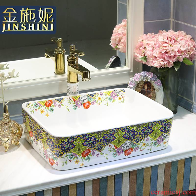 Gold cellnique art ceramic stage basin sink bathroom home outfit lavatory square of the basin that wash a face pale haze